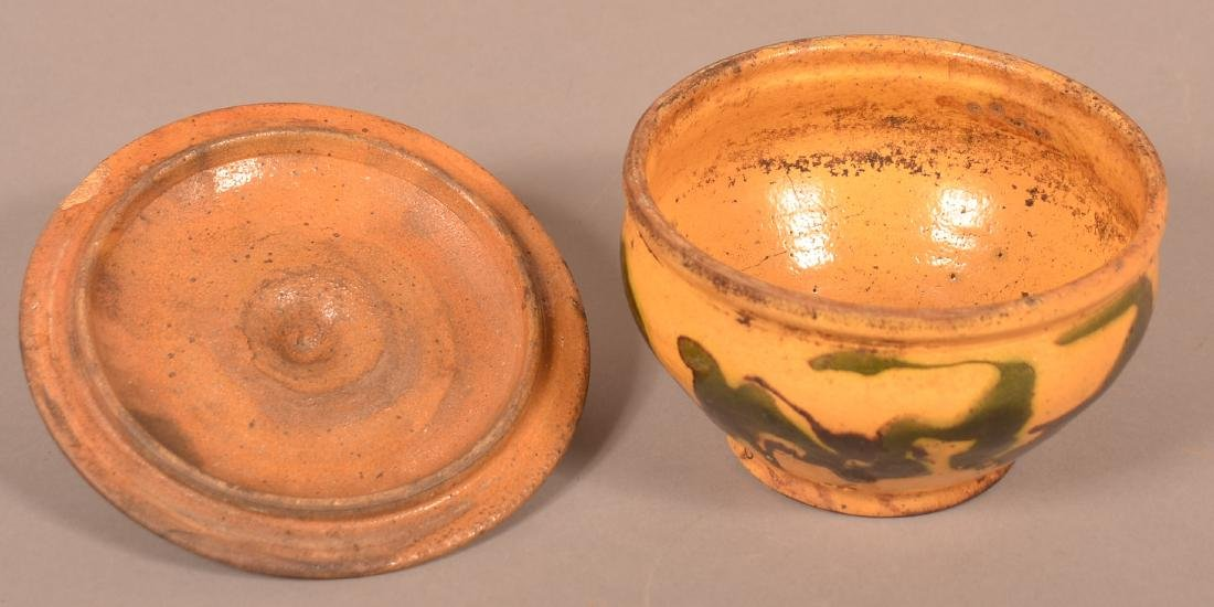 19th Century Drip Glazed Redware Covered Sugar Bowl. - 3