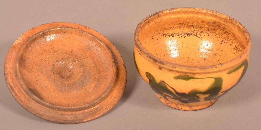 19th Century Drip Glazed Redware Covered Sugar Bowl. - 3