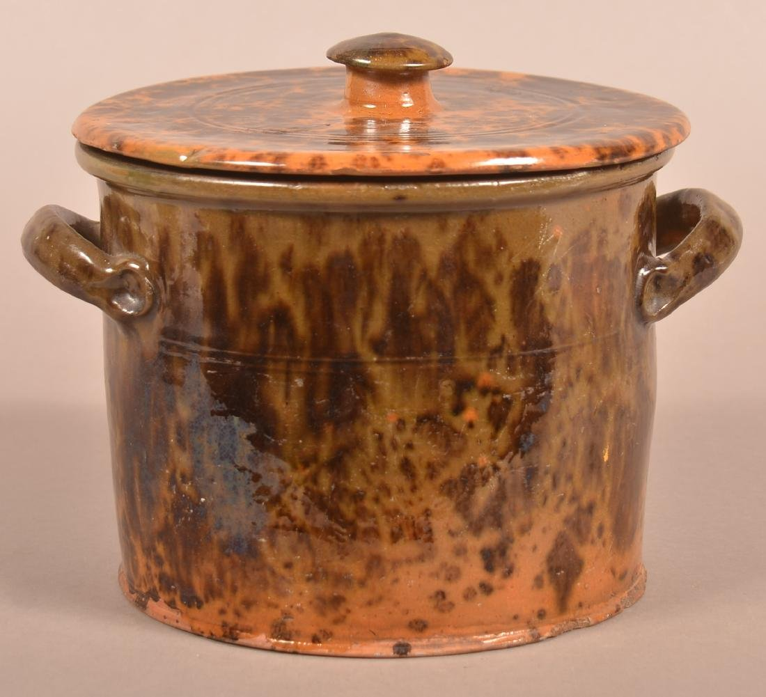 19th Century Mottle Glazed Redware Covered Canister.