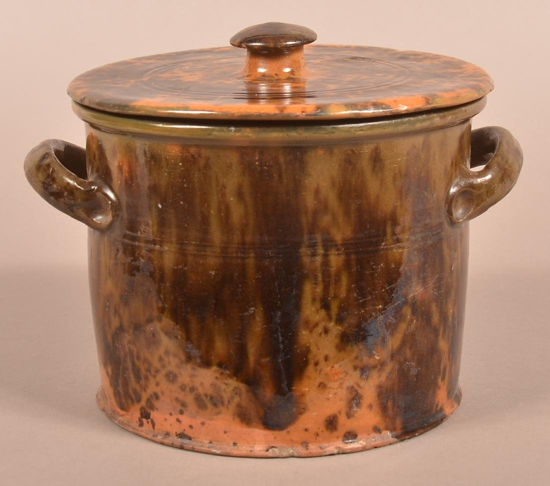 19th Century Mottle Glazed Redware Covered Canister. - 2