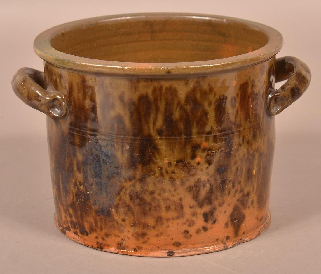 19th Century Mottle Glazed Redware Covered Canister. - 3