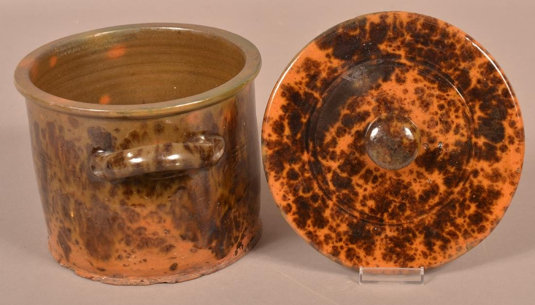 19th Century Mottle Glazed Redware Covered Canister. - 4