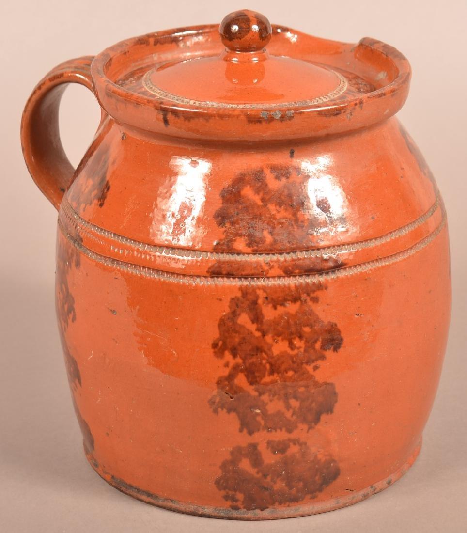 PA Sponge Glazed Redware Side Spout Covered Cider Jug. - 2