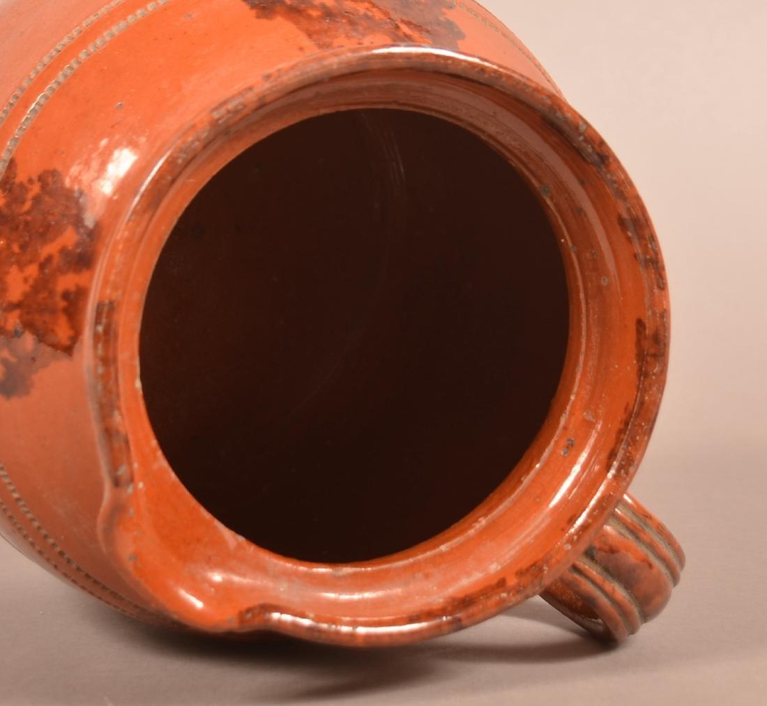 PA Sponge Glazed Redware Side Spout Covered Cider Jug. - 3