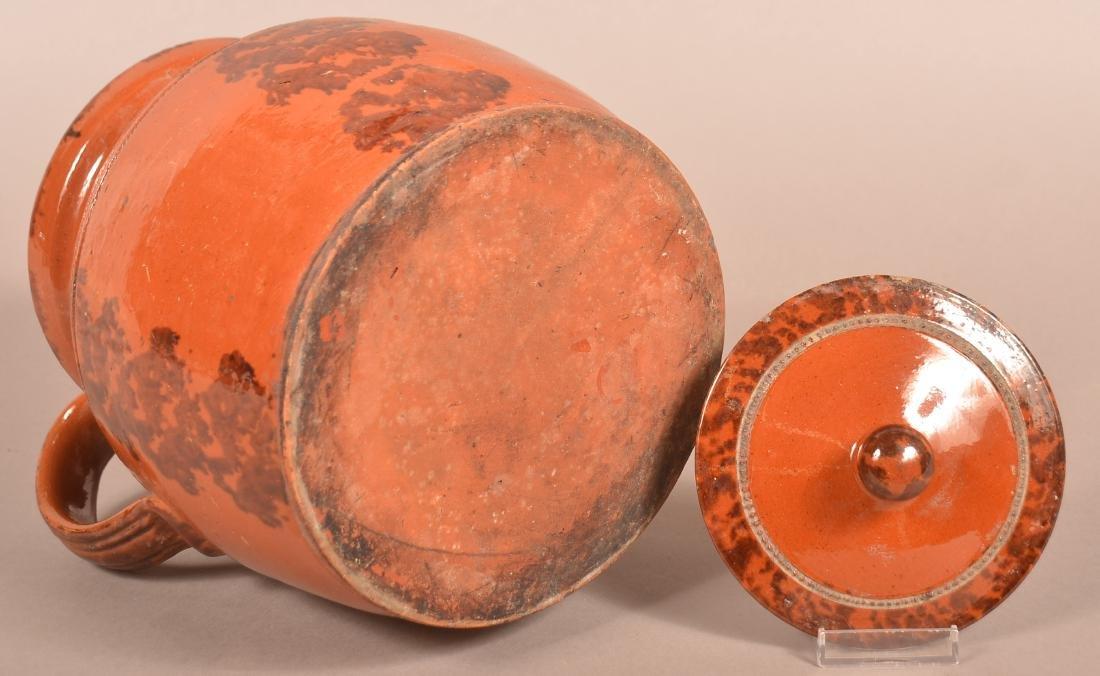 PA Sponge Glazed Redware Side Spout Covered Cider Jug. - 4