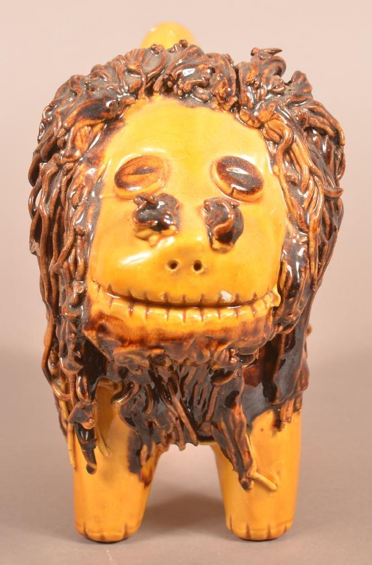 Large Breininger Redware Pottery Lion Figure. - 2