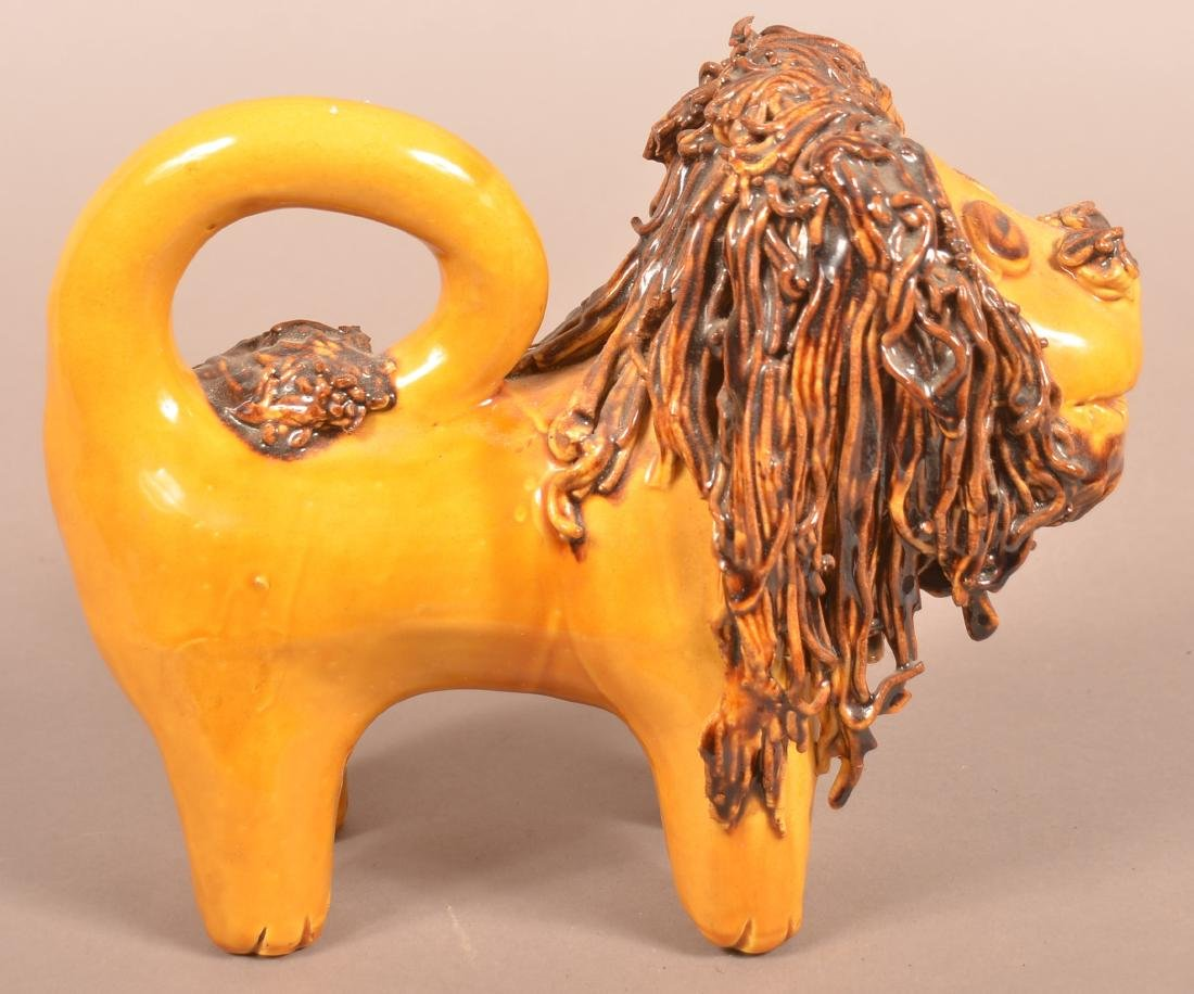 Large Breininger Redware Pottery Lion Figure. - 3