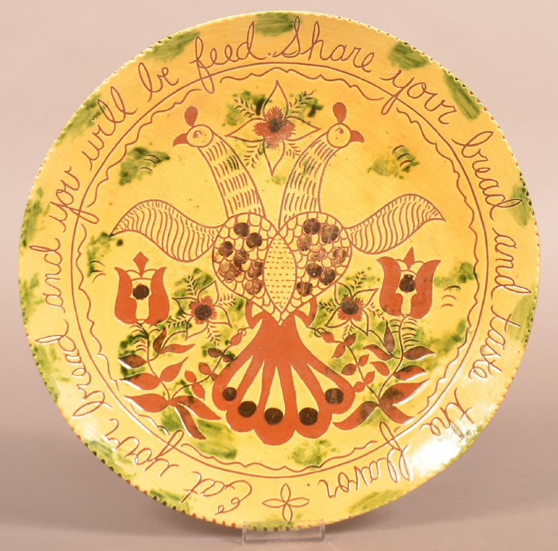 Breininger Redware Pottery Sgrafitto Decorated Charger.