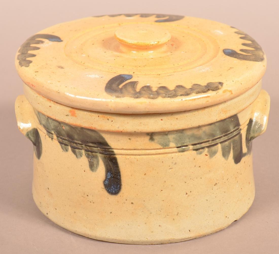 Stoneware Cov. Butter Crock with Blue Foliate
