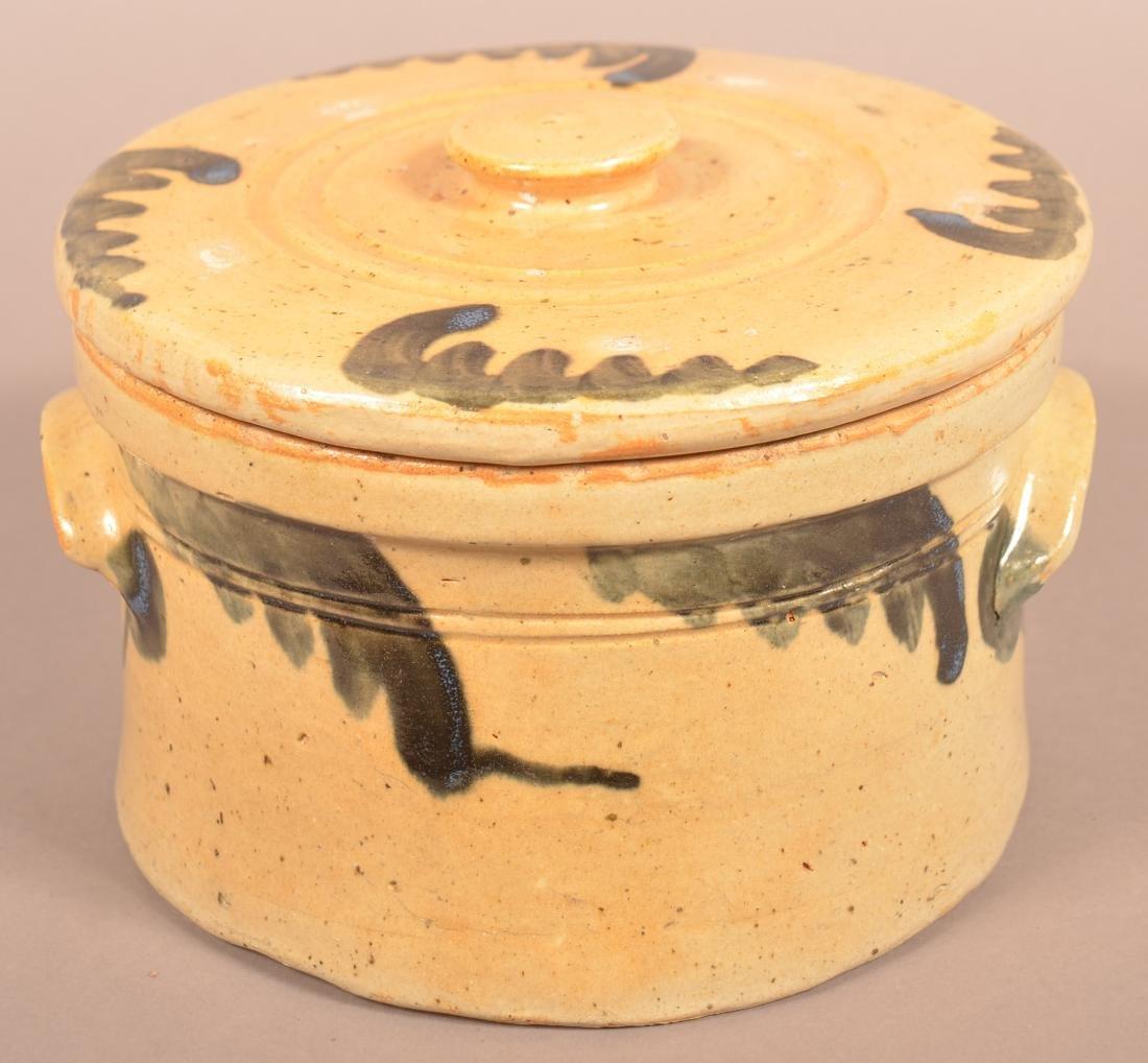 Stoneware Cov. Butter Crock with Blue Foliate - 2