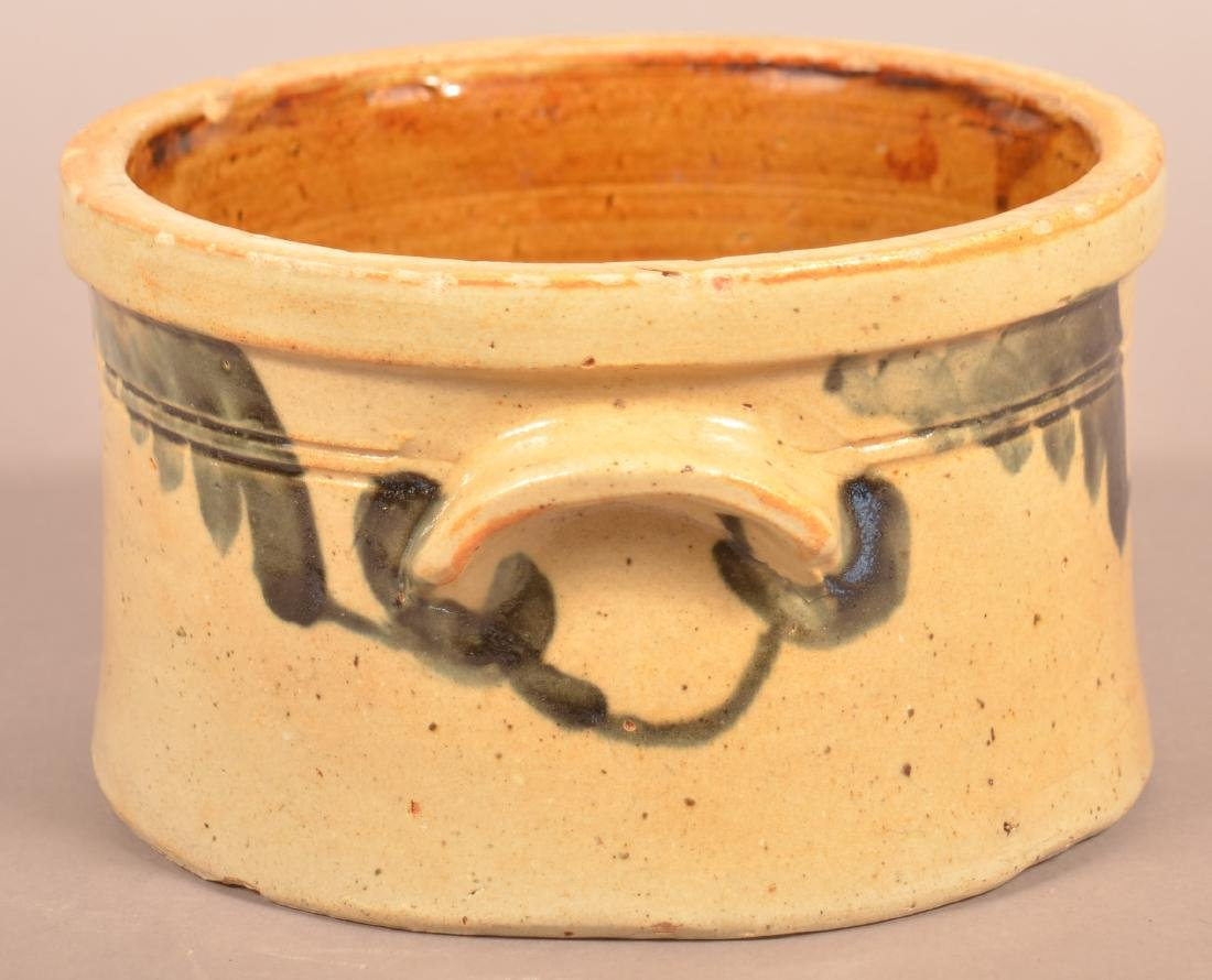 Stoneware Cov. Butter Crock with Blue Foliate - 3