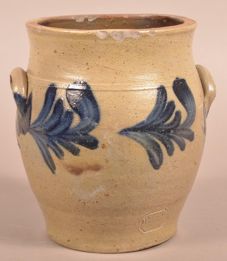 Remmey Stoneware Crock with Blue Foliate Decoration. - 2