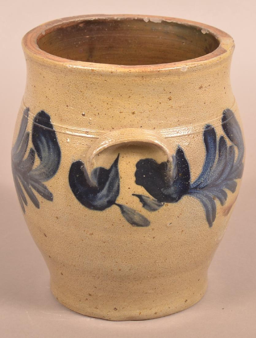 Remmey Stoneware Crock with Blue Foliate Decoration. - 4