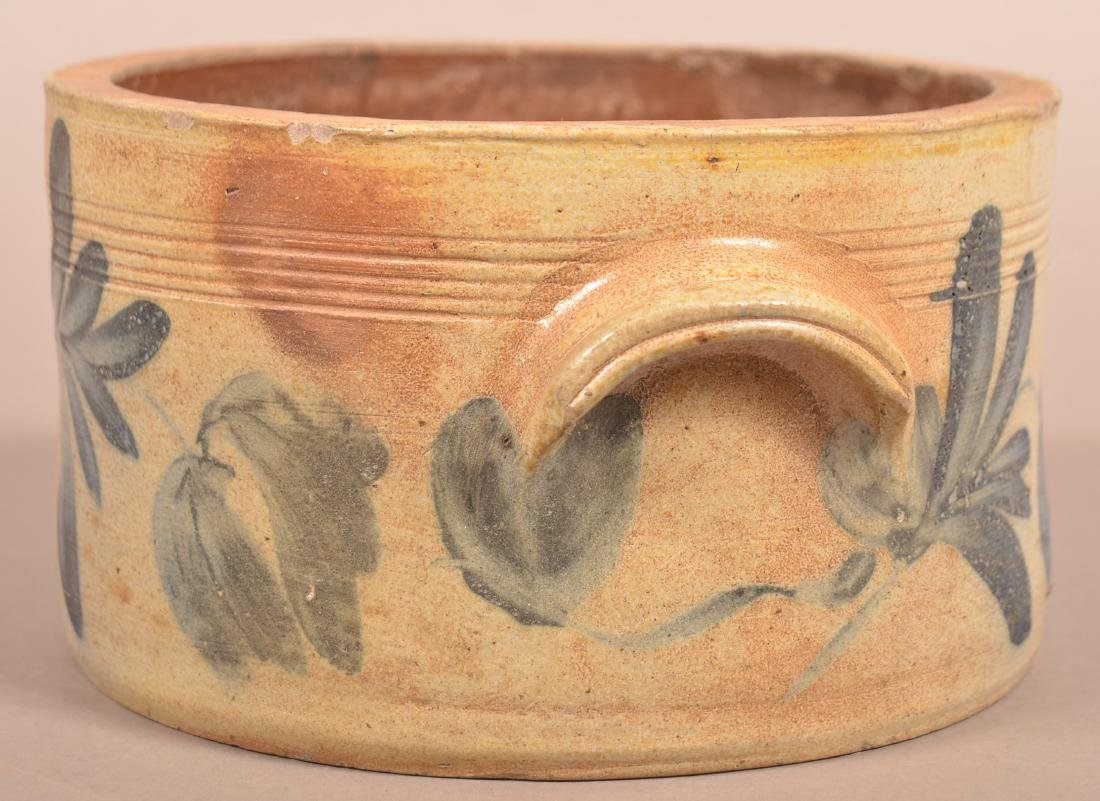 Stoneware Cov. Butter Crock with Blue Foliate - 4