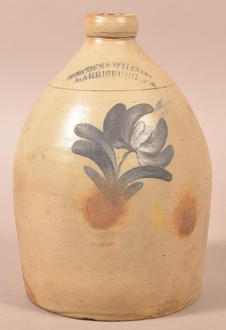 Cowden & Wilcox Floral Dec. One Gallon Stoneware Jug.