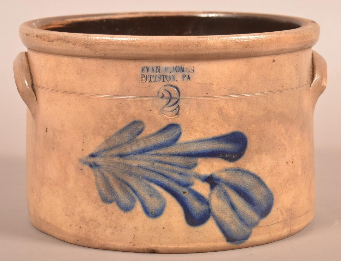 Evan R. Jones Two Gallon Crock with Blue Floral slip
