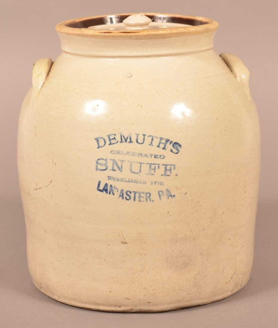 Demuth's Snuff Stoneware Two Gallon Crock.