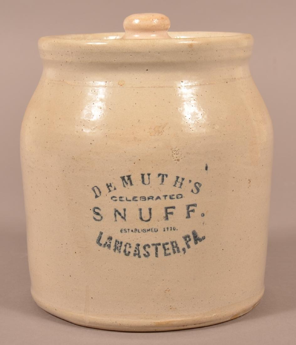 Demuth's Snuff Stoneware One Gallon Crock.