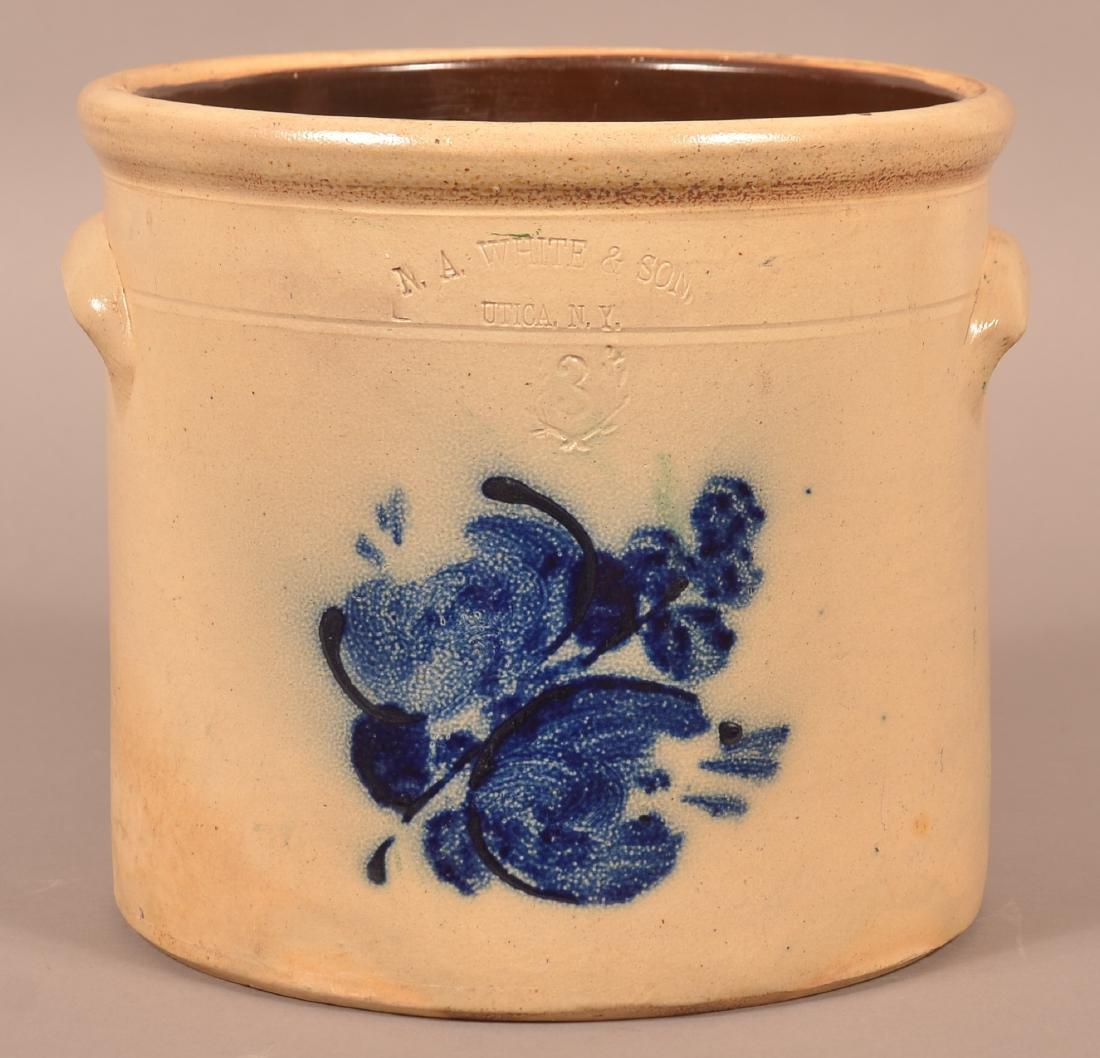 N.A. White & Son, Utica, N.Y. 3 Gallon Stoneware Crock.