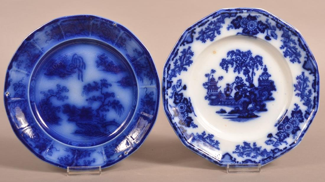 Two Various Flow Blue Ironstone China Plates.