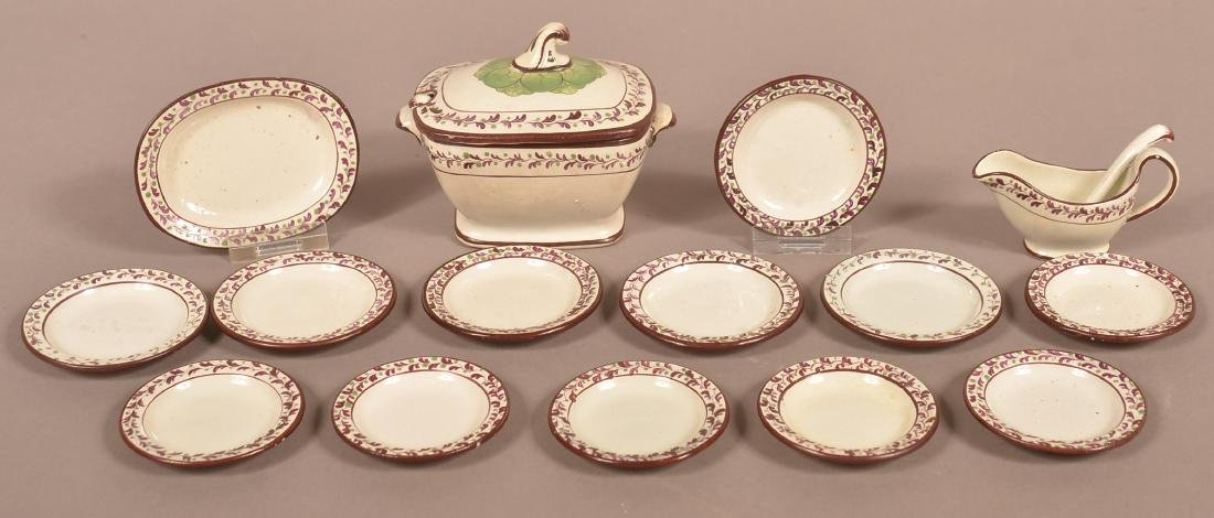 Leeds Soft Paste 17 Piece Miniature China Set.
