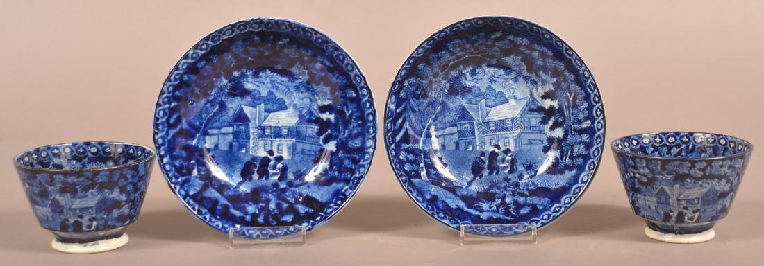 Two Staffordshire China Blue Transfer Cups and Saucers.