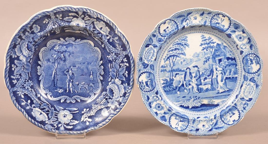 Two Staffordshire China Blue Transfer Plates.