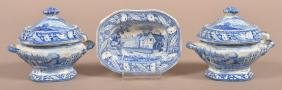 Staffordshire China Blue Transfer Miniature China.