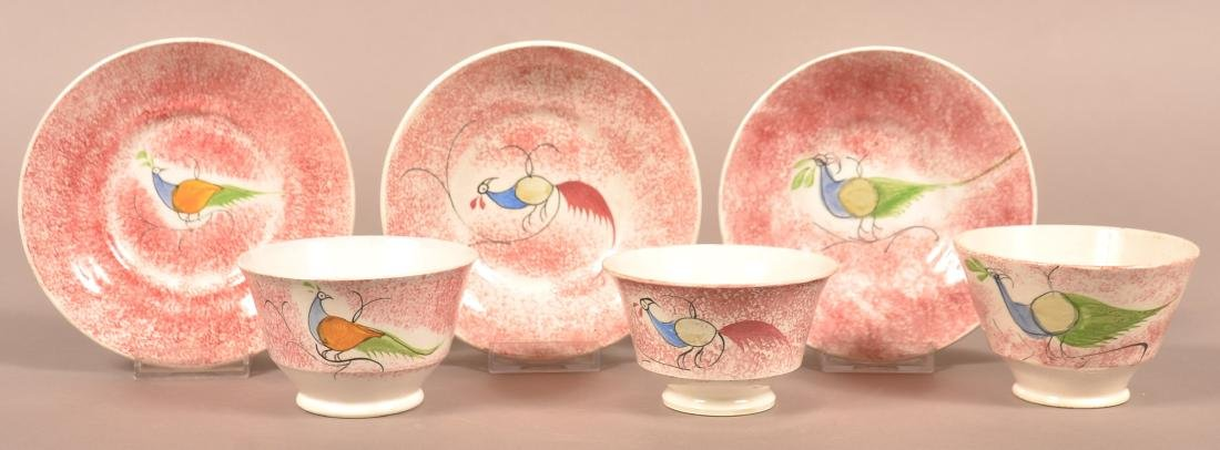 Three Various Red Spatter Peafowl Pattern Cups and