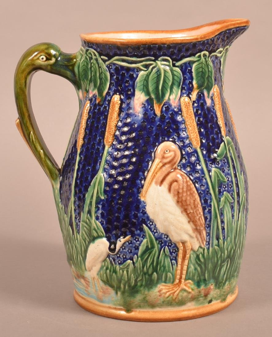 Large Majolica Stork and Cat-tail Pitcher.