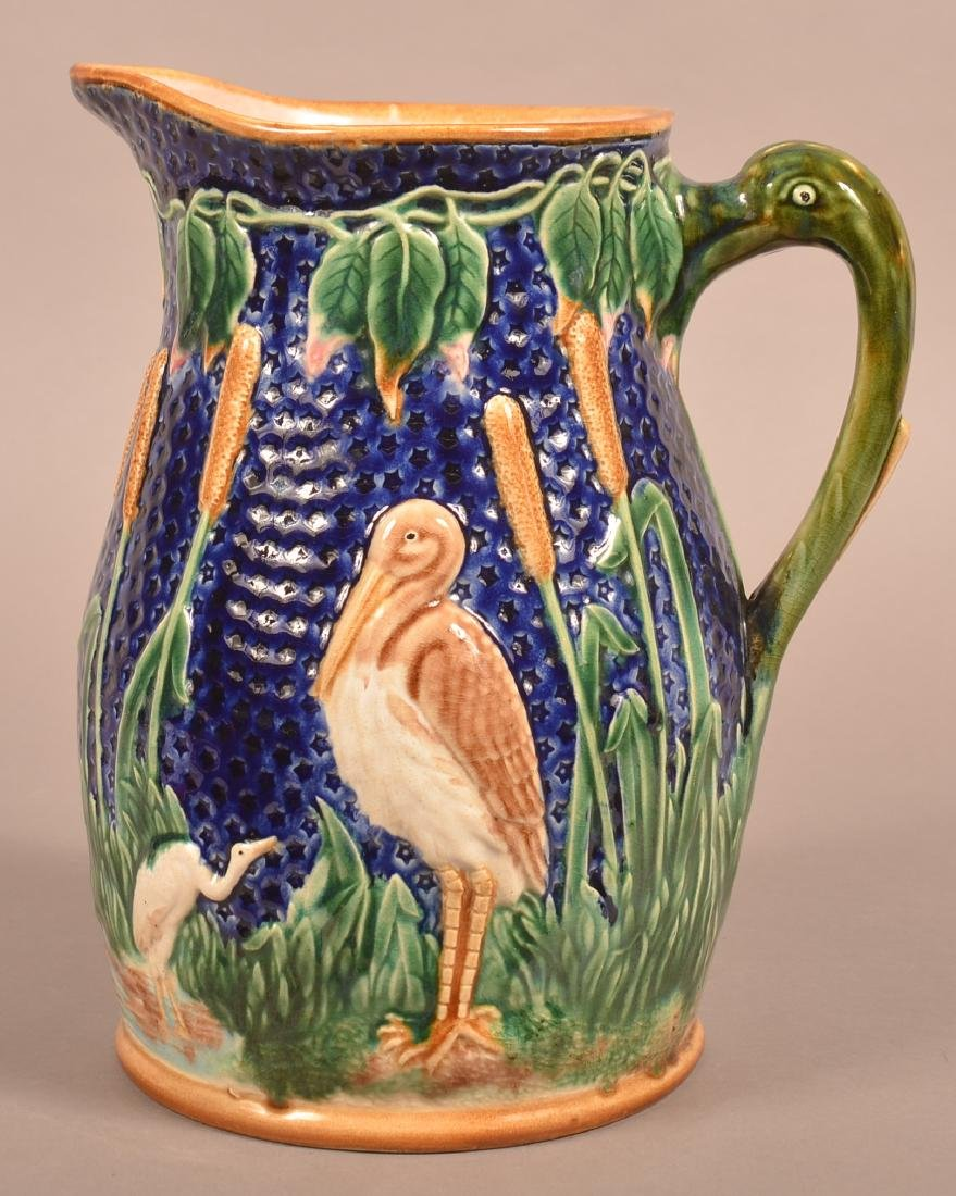 Large Majolica Stork and Cat-tail Pitcher. - 2