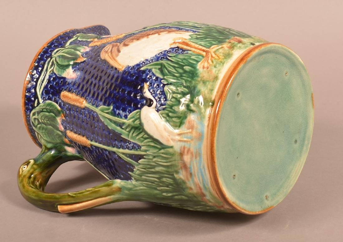 Large Majolica Stork and Cat-tail Pitcher. - 3