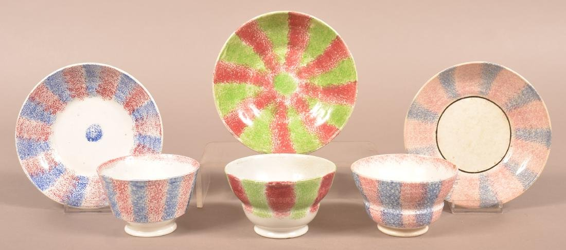 Three Various Rainbow Spatter China Cups and Saucers.