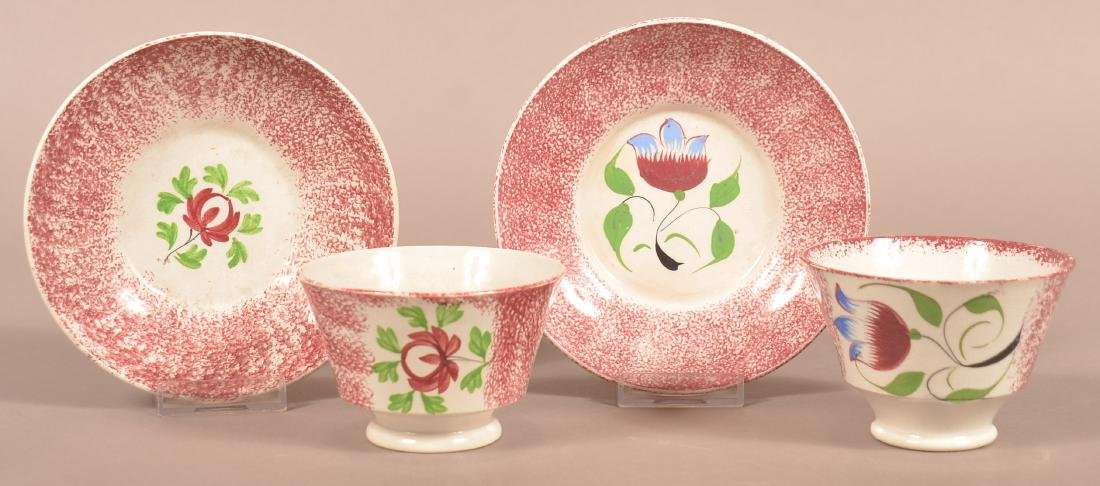 2 Red Spatter China Floral Pattern Cups and Saucers.