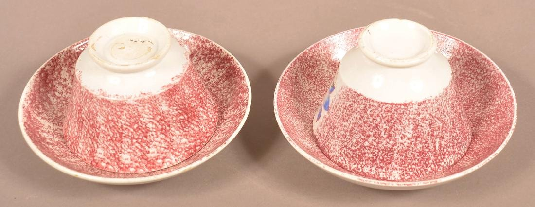 2 Red Spatter China Floral Pattern Cups and Saucers. - 2