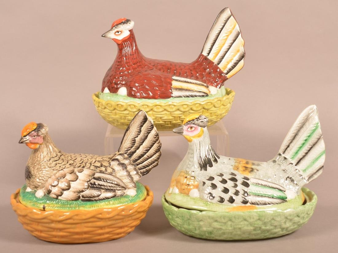 Three Various Ceramic Hen on Nest Covered Dishes.