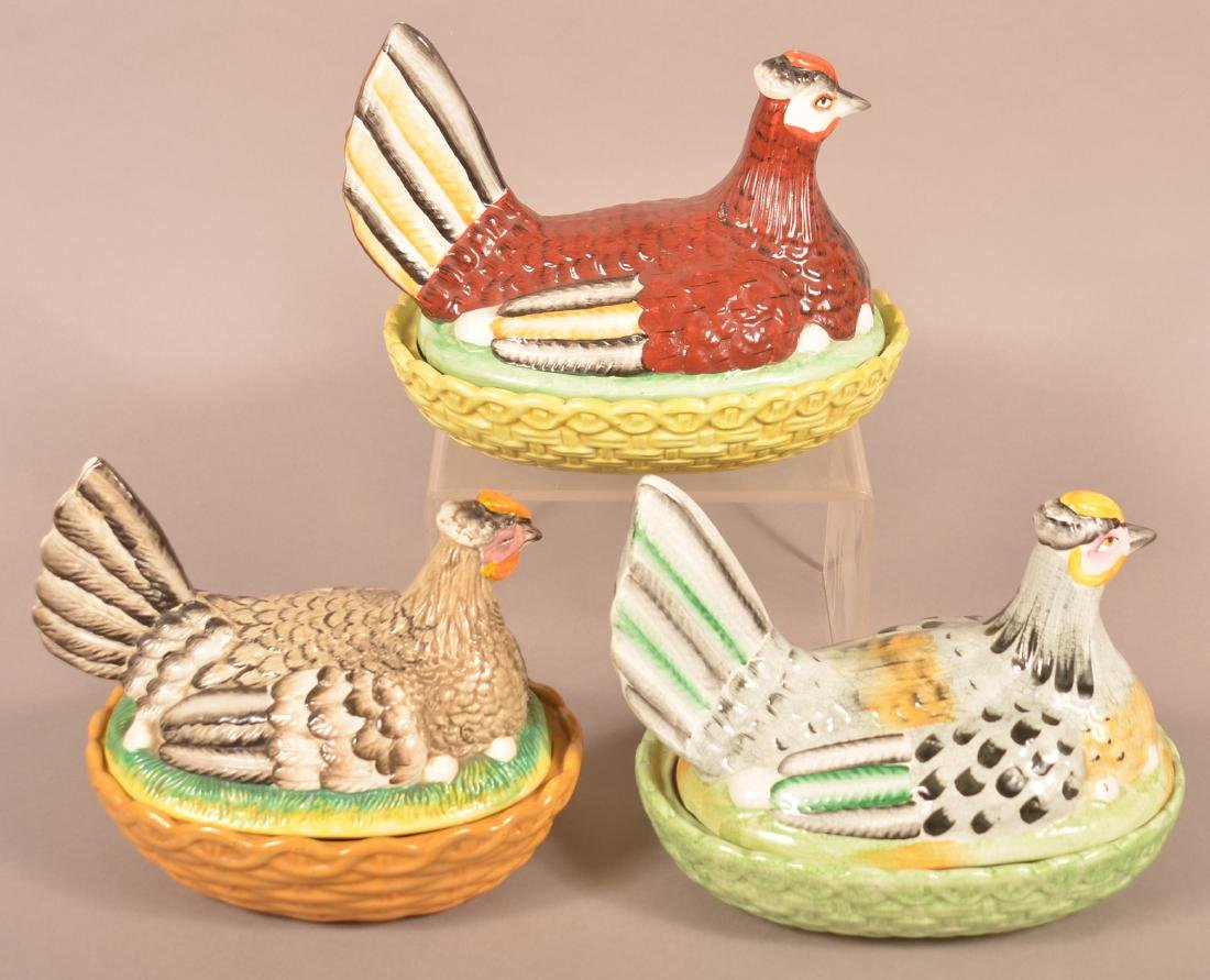 Three Various Ceramic Hen on Nest Covered Dishes. - 2