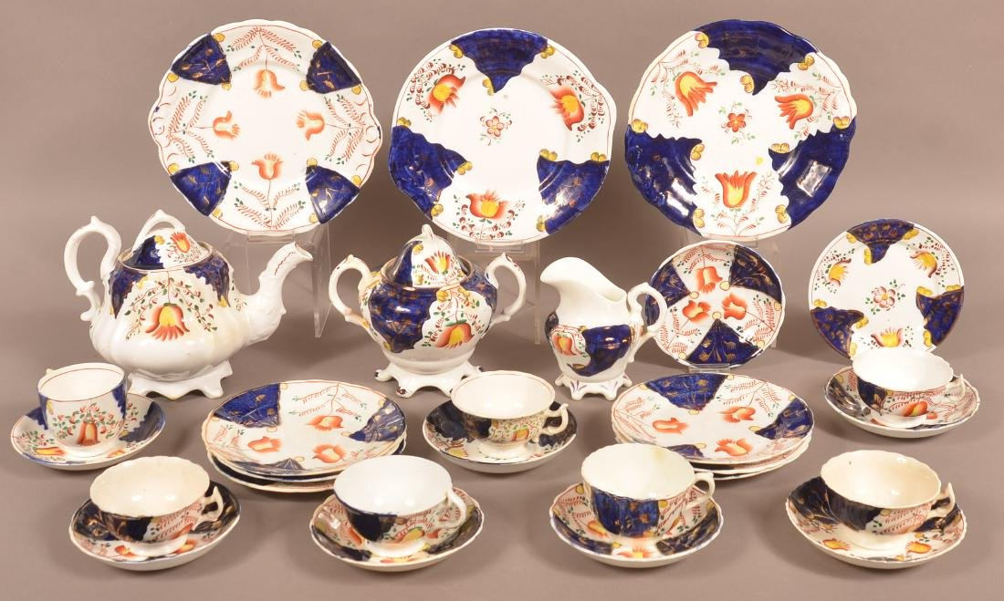 "28 Piece Gaudy Welsh ""Bellflower"" China Tea Service."