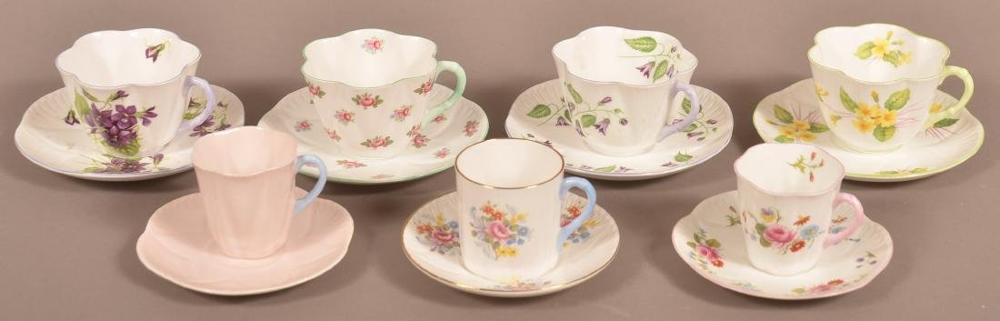 7 Various Pattern Shelley Bone China Cups and Saucers.