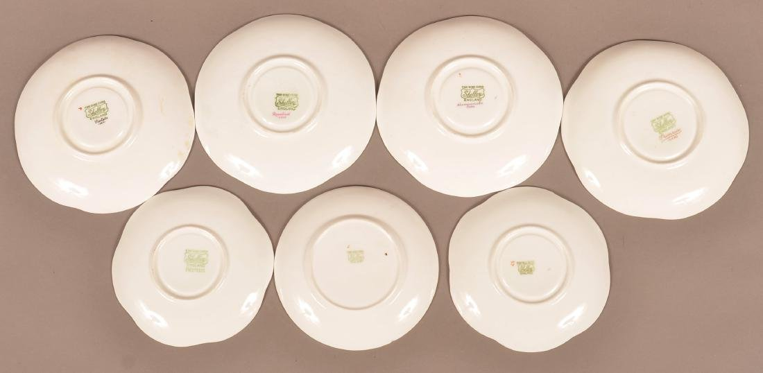 7 Various Pattern Shelley Bone China Cups and Saucers. - 2