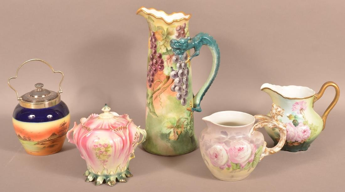 5 Pieces of Hand Painted and Transfer Decorated China.