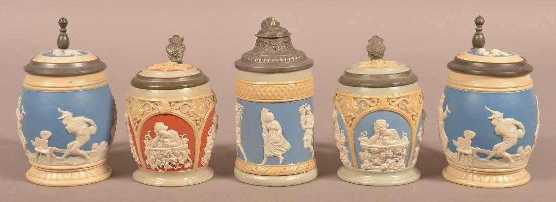 Five Various Mettlach Antique/Vintage Pottery Steins.