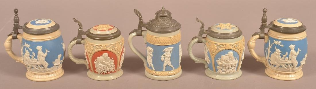 Five Various Mettlach Antique/Vintage Pottery Steins. - 2