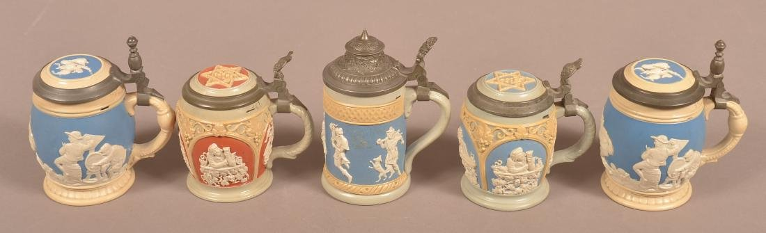 Five Various Mettlach Antique/Vintage Pottery Steins. - 4