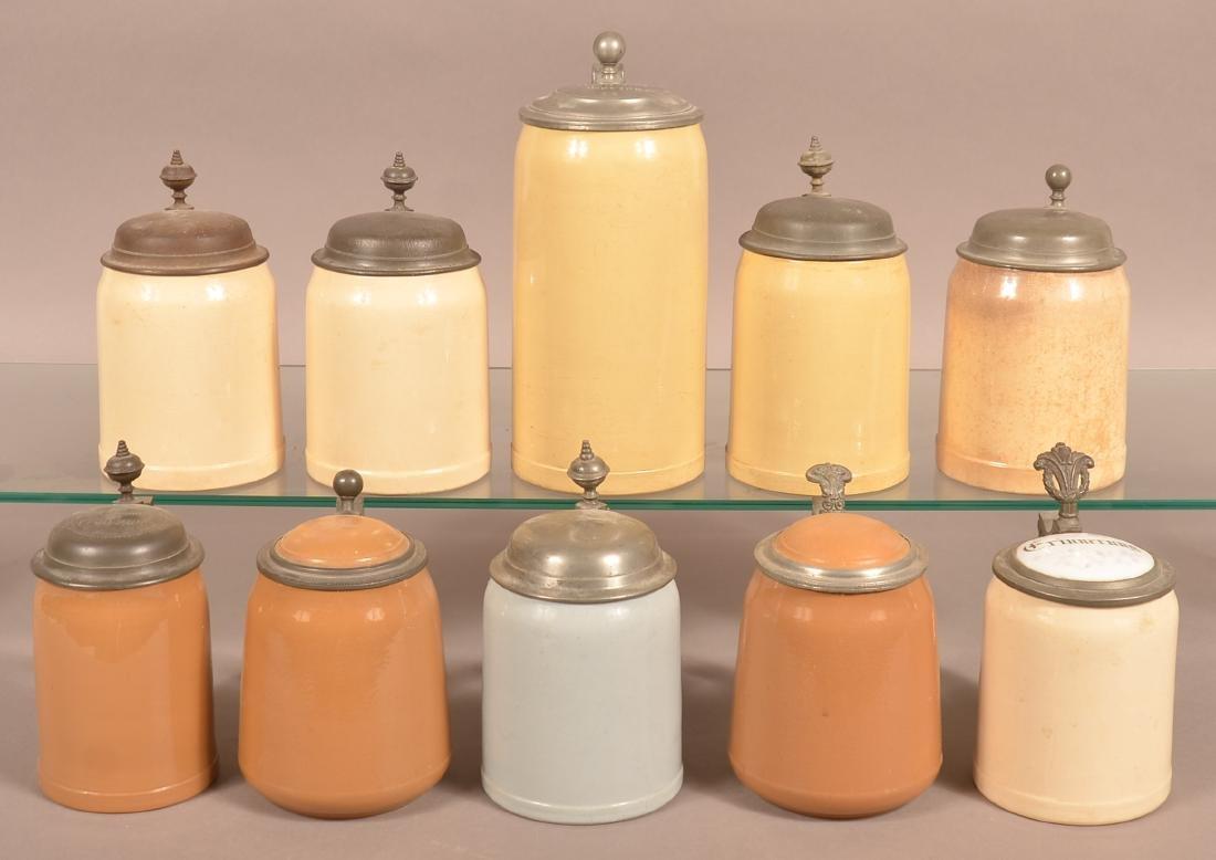 Ten Various German Antique/Vintage Pottery Steins.