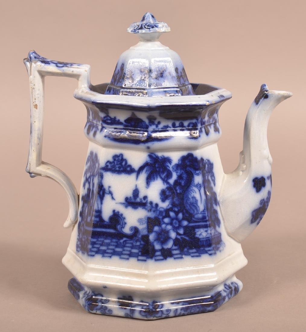 """Flow Blue Ironstone China """"Cabul"""" Pattern Coffee Pot."""