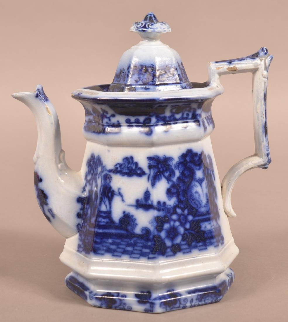 """Flow Blue Ironstone China """"Cabul"""" Pattern Coffee Pot. - 2"""