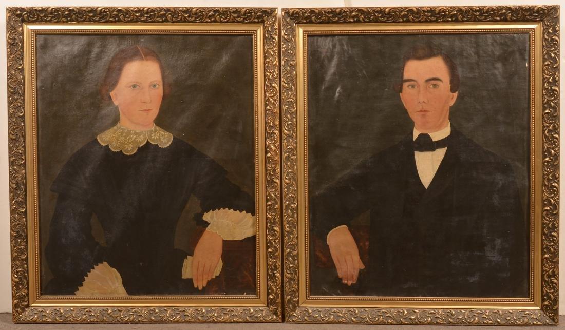 Pair of Oil on Canvas Folk Art Portrait Paintings.