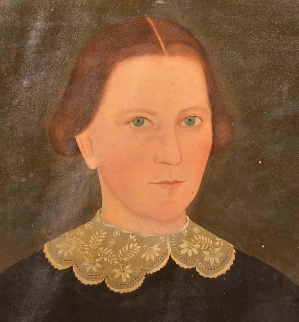 Pair of Oil on Canvas Folk Art Portrait Paintings. - 2