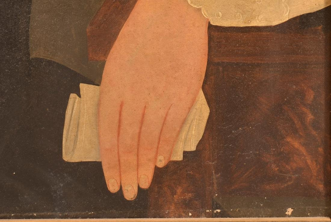 Pair of Oil on Canvas Folk Art Portrait Paintings. - 3